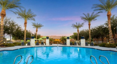 Resort-style pool overlooking the sunset at our luxury apartments in Tempe