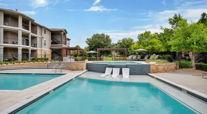 Two resort style pools at apartments near South Austin, TX