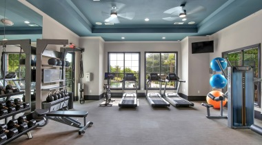 Fitness center at our apartments near Southpark Meadows