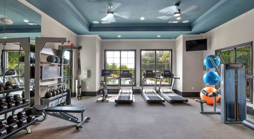 Fitness center at apartments near Southpark Meadows