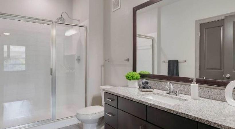 Modern apartment bathroom at Cortland Luxe Shadow Creek