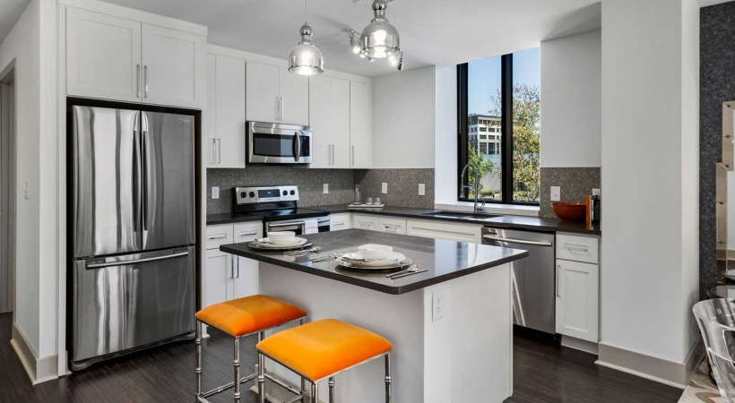 High-Rise Kitchen with Views of Birmingham