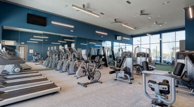 Fitness center at luxury apartments in San Antonio