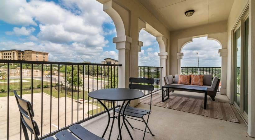 Personal balcony at apartments for rent in San Antonio, TX