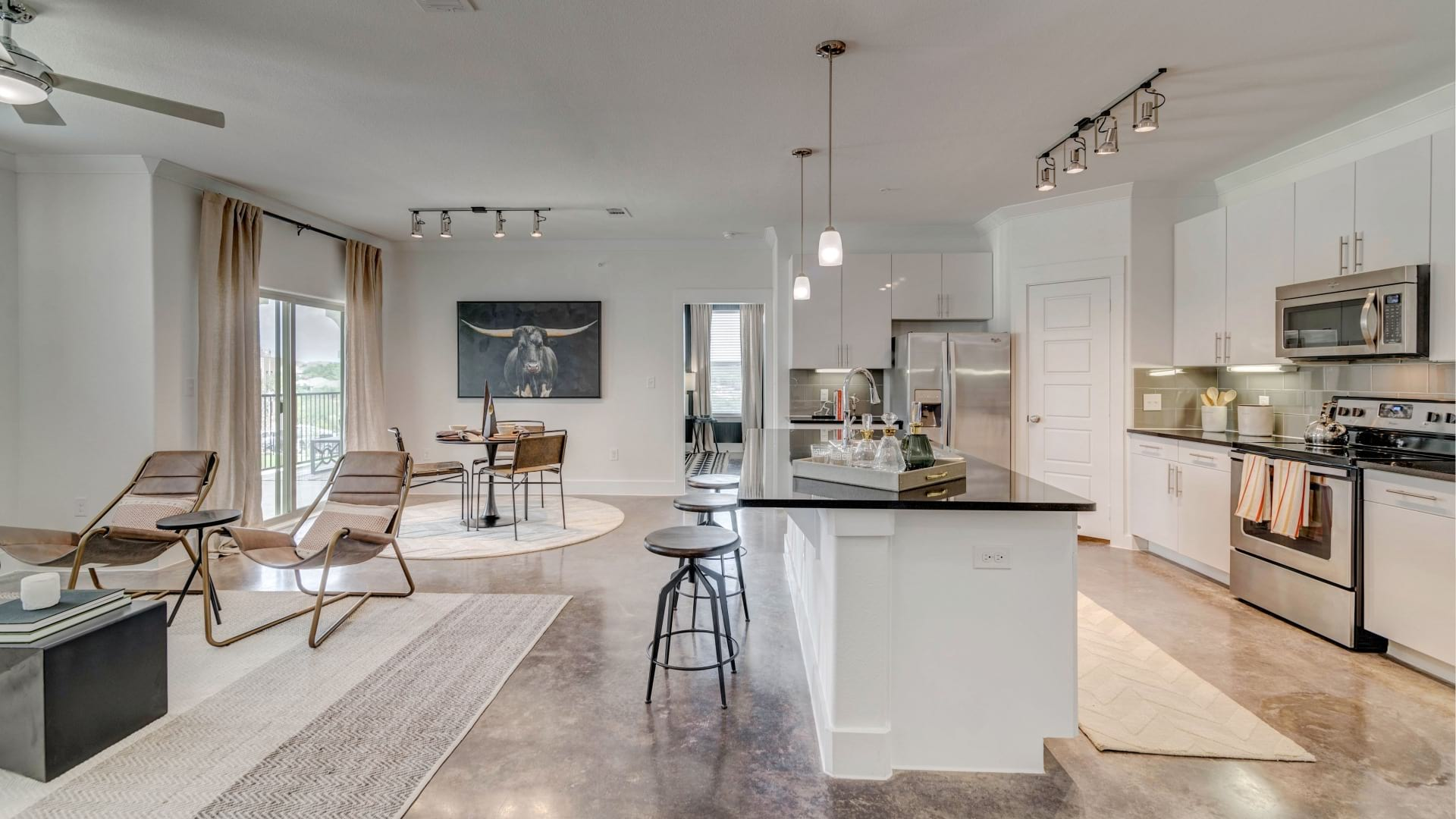 Luxury apartment living areas at Cortland View at TPC
