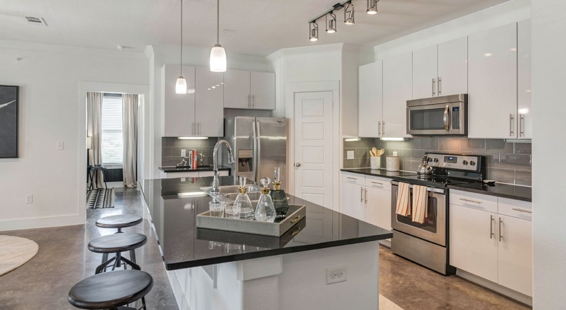 Luxury apartment kitchen at Cortland View at TPC