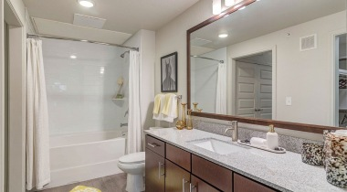 Spacious Bathrooms with Granite Countertops