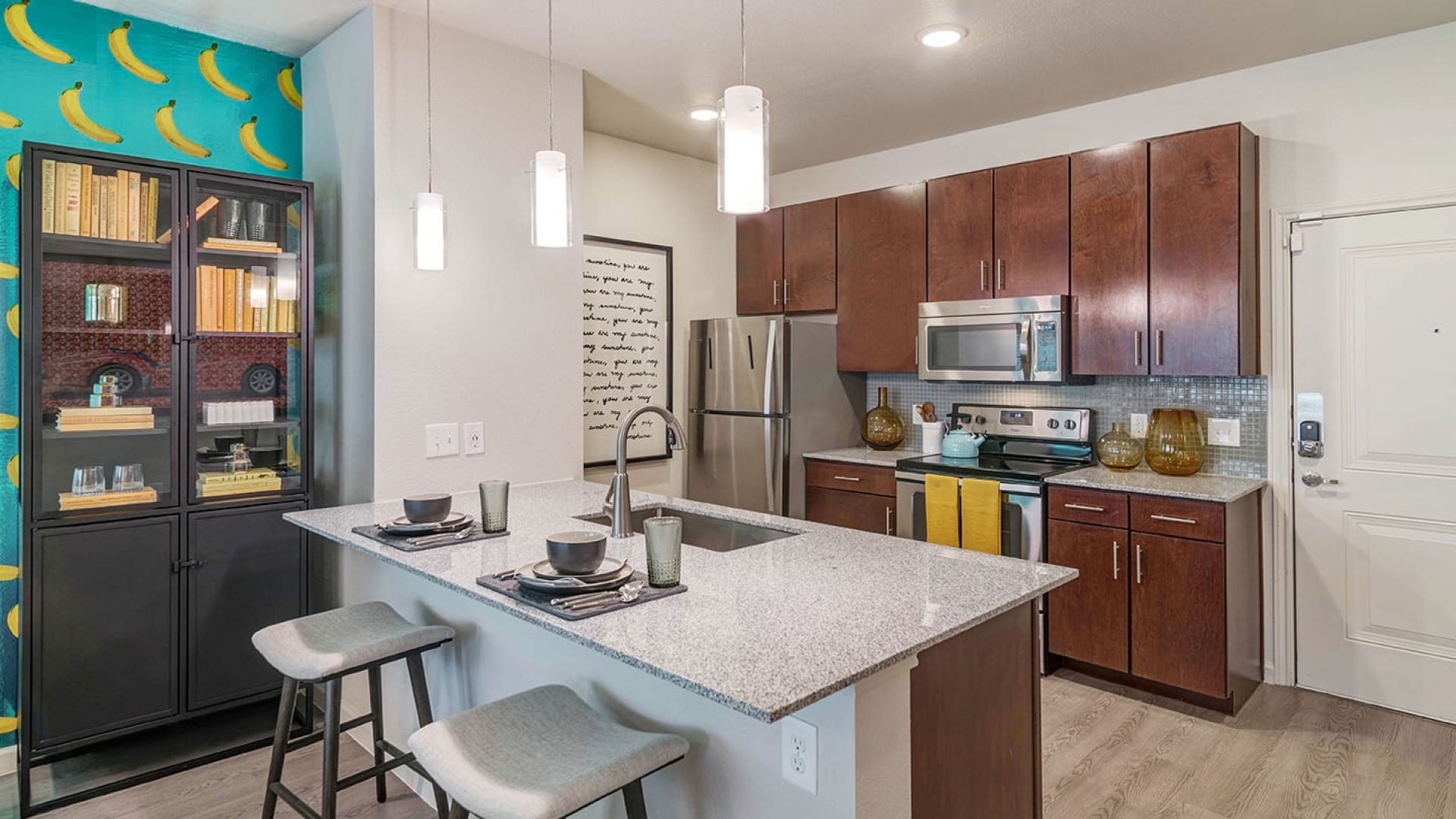 Spacious kitchen with luxury finishes at our Onion Creek apartments in Austin