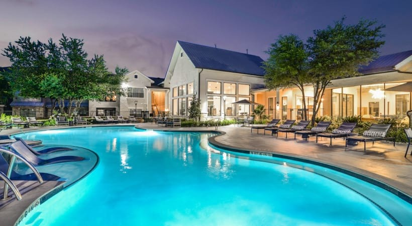 Our resort-style pool at our modern apartments for rent in South Austin