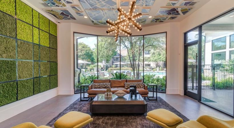 Our Bluff Springs apartment clubhouse with modern decor and lounge areas