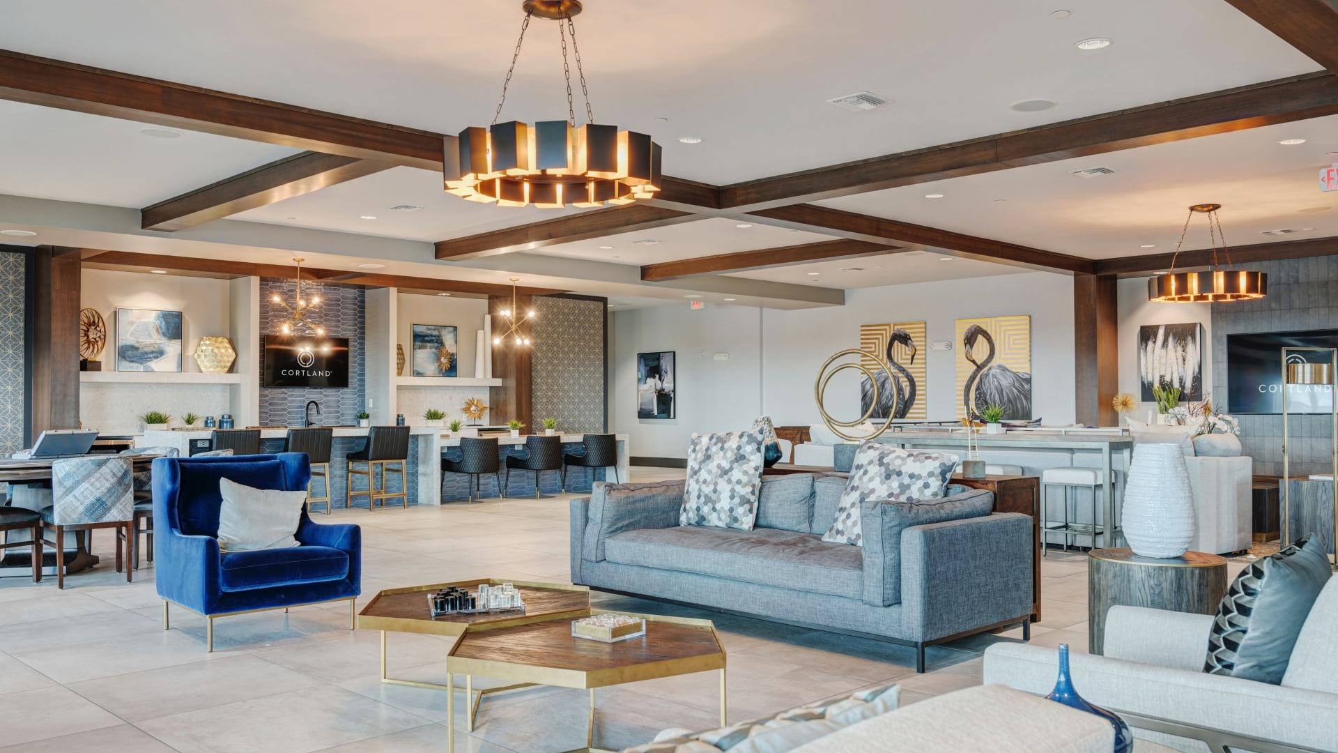 Resident clubroom at Cortland on Orange luxury apartments near downtown