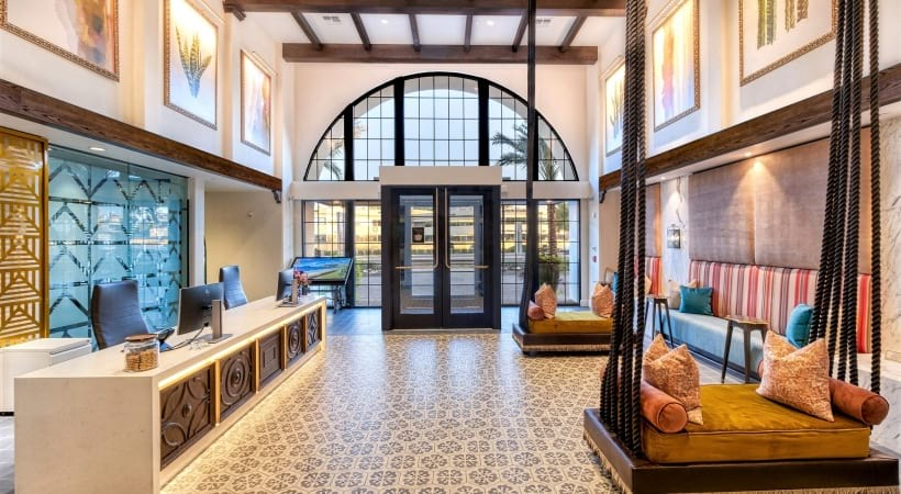 Leasing office with arched entry way at our luxury apartments near Biltmore