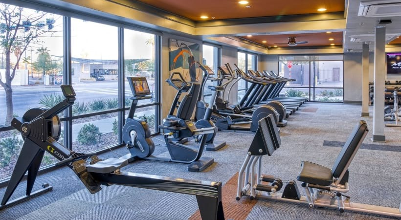 Fitness center at our modern apartments for rent in Phoenix