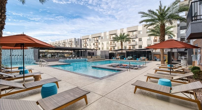 Outdoor lounge at our apartments near Downtown Phoenix
