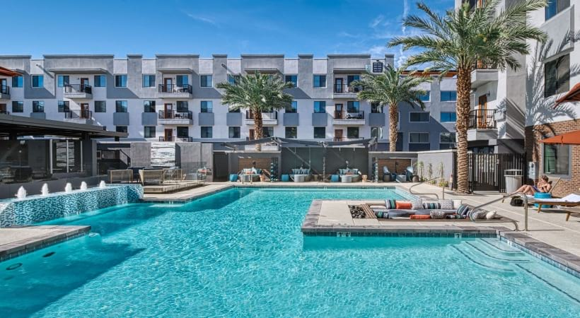 Our Phoenix apartment pool and sun deck
