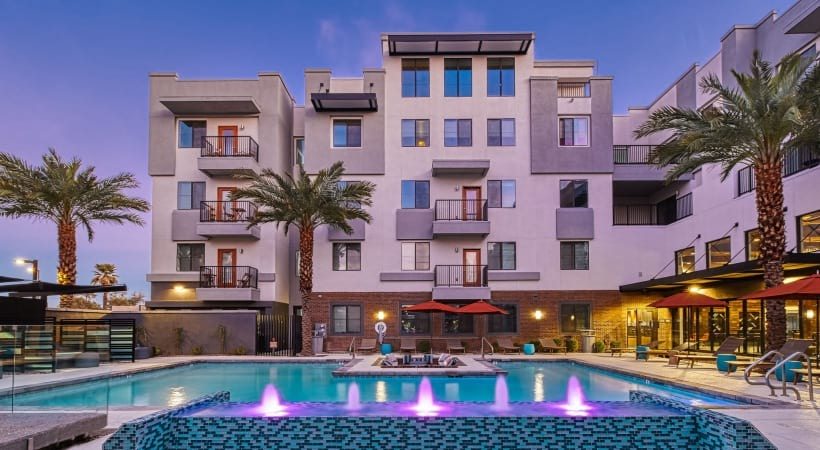 Our resort-style pool and sun deck at our modern apartments near Downtown Phoenix
