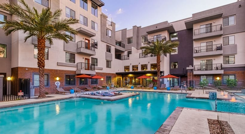Our Downtown Phoenix apartment pool and sun deck