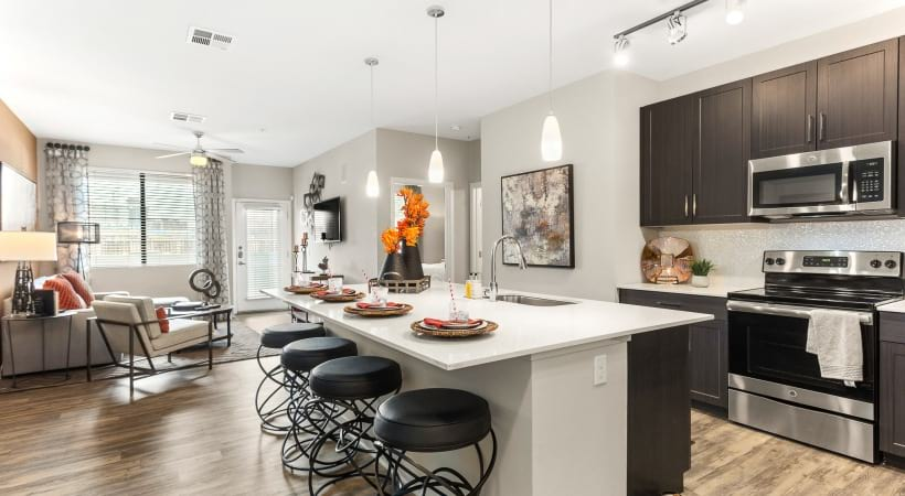 Expansive kitchen island at our upscale apartments in Downtown Phoenix
