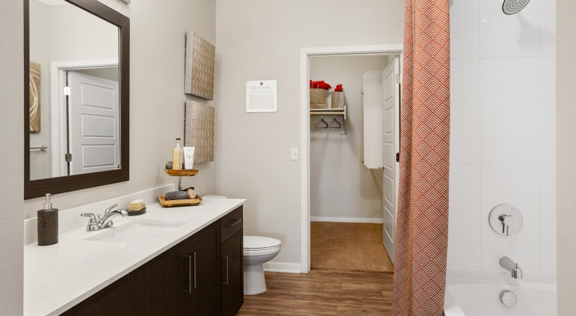 Bathrooms with Wood-Style Flooring
