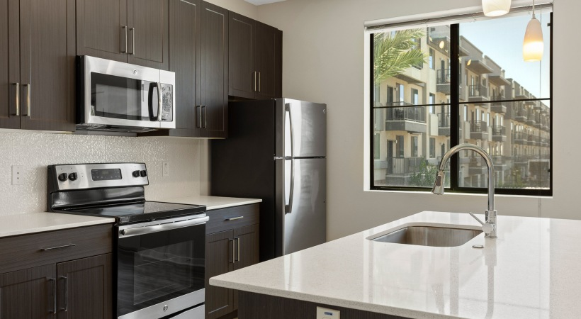 Kitchen with wide window at our upscale apartments for rent in Phoenix