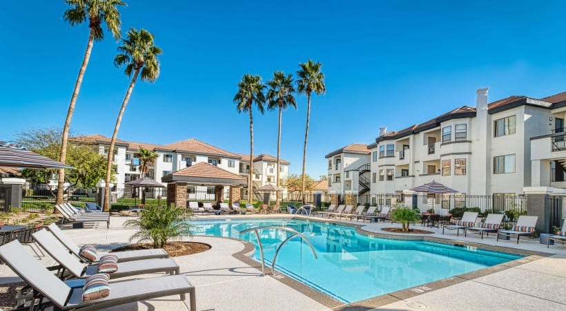 Our Papago Park apartment pool with heated spa