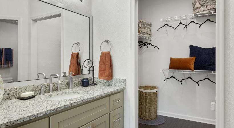 Renovated Bathroom with Granite Countertops