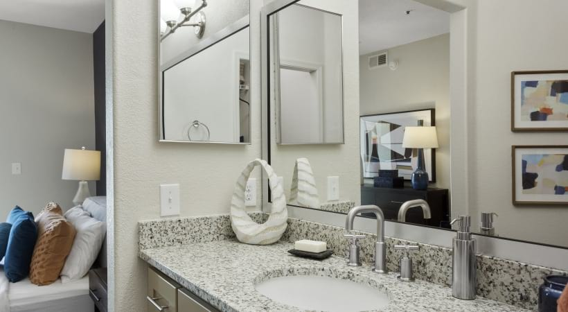 Renovated Bathroom with Modern Lighting