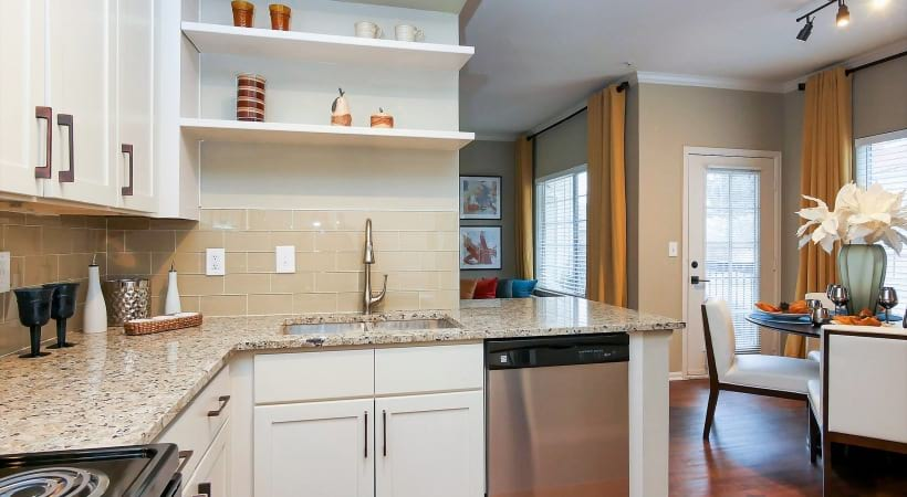 Granite Countertops with Designer Tile Backsplash