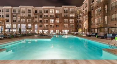 Close-up view of our resort-style pool in the middle of our apartment complex in Cary, NC