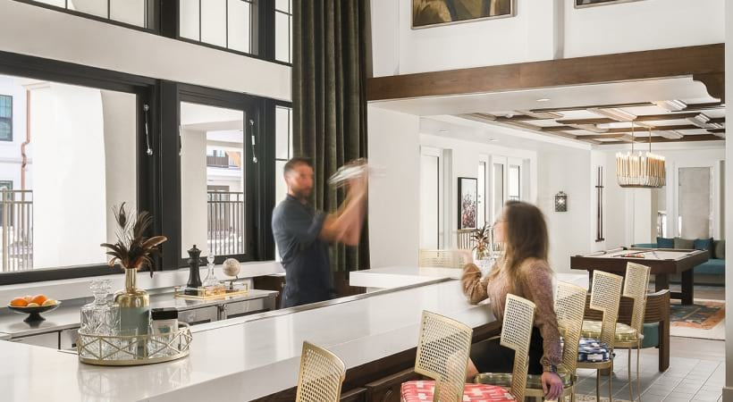Resident clubhouse with bar at apartments in Phoenix