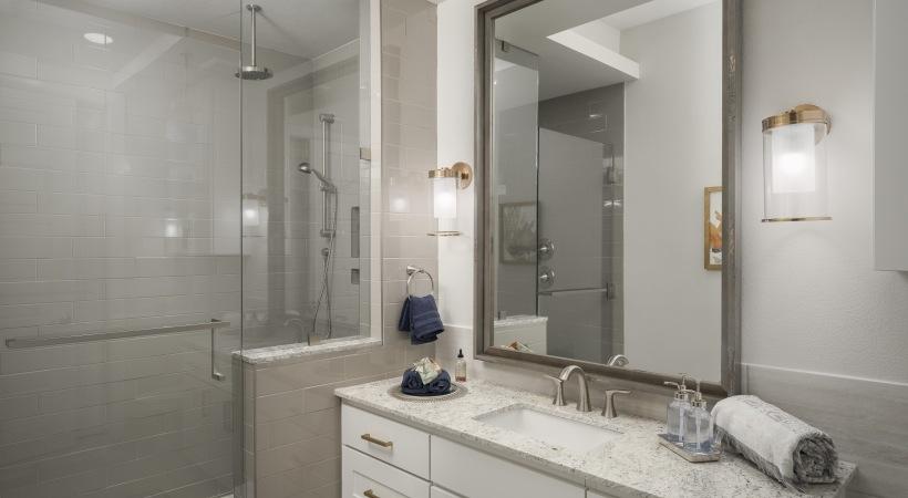 Luxury apartment bathroom at Cortland Biltmore