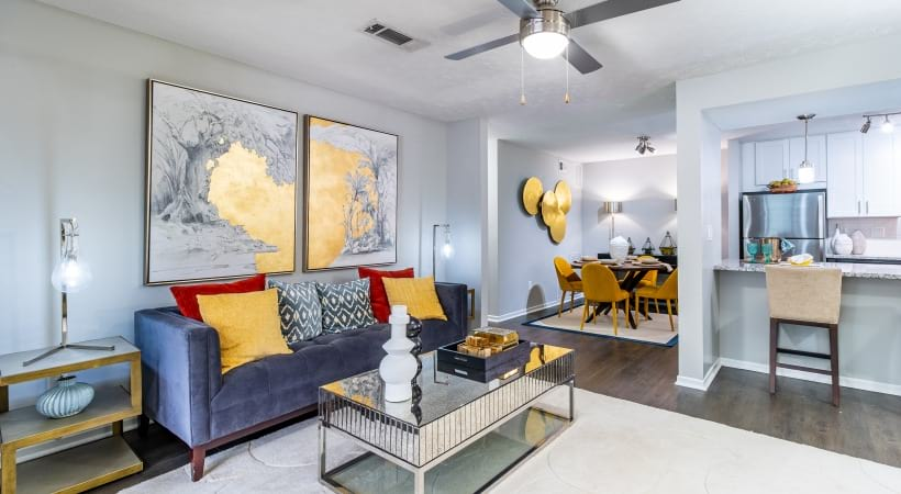 Spacious apartment living room at Viridian by Cortland