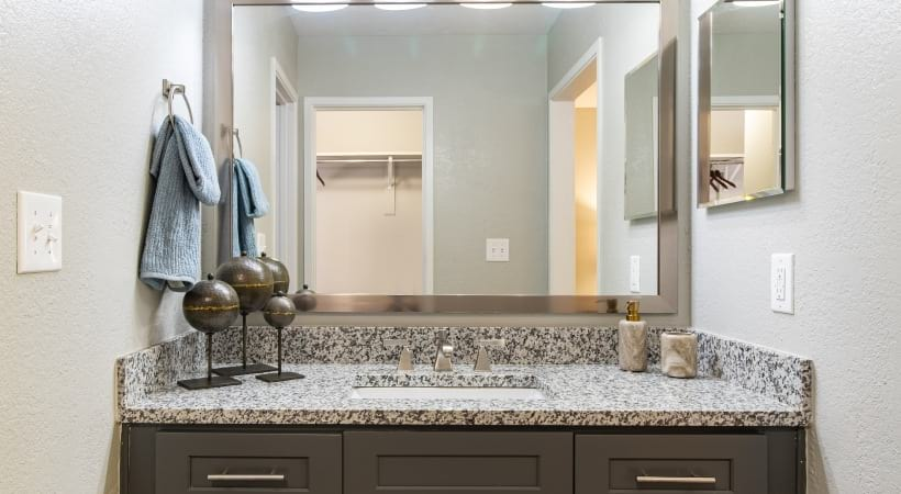 Bathroom vanity with granite countertops