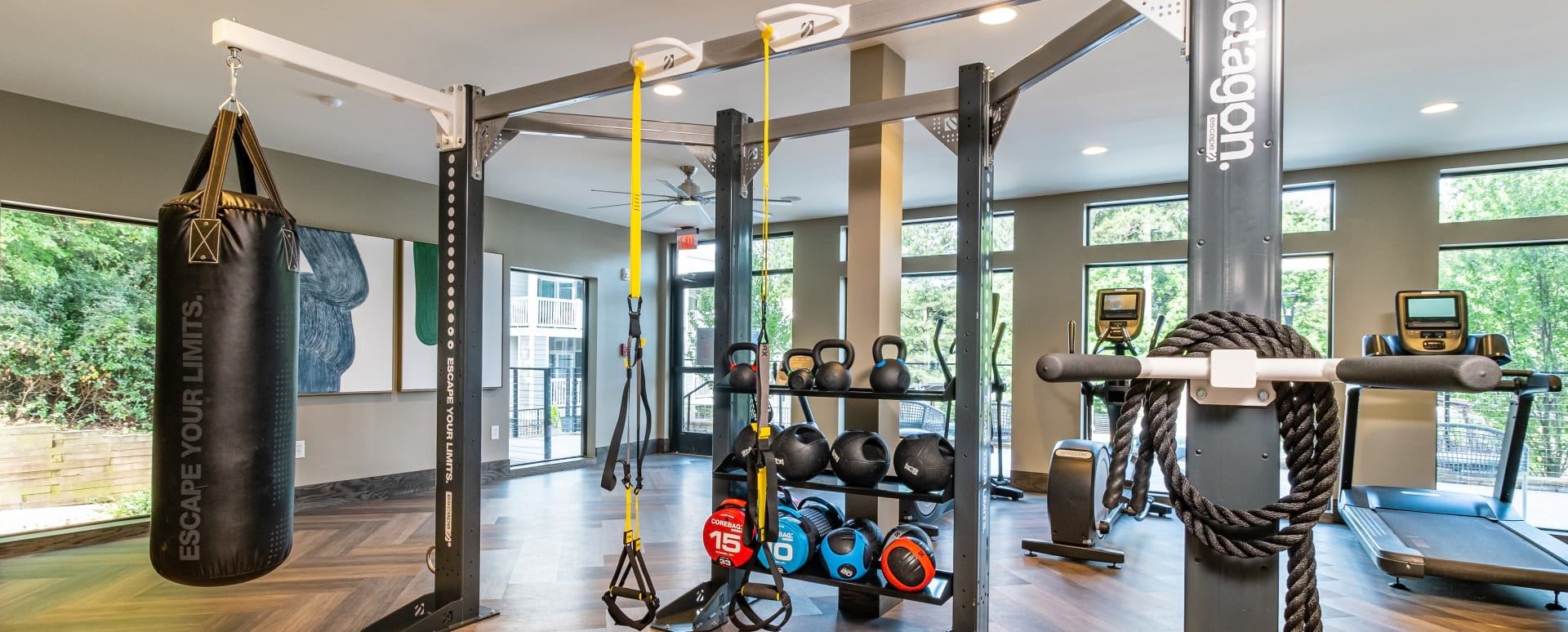 Fitness center at apartments in Marietta, GA