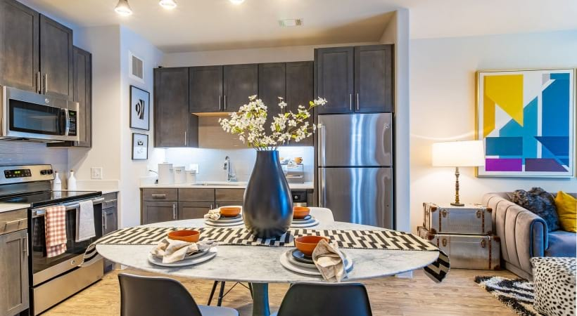 Kitchen with Modern Lighting at apartments for rent in buckhead ga
