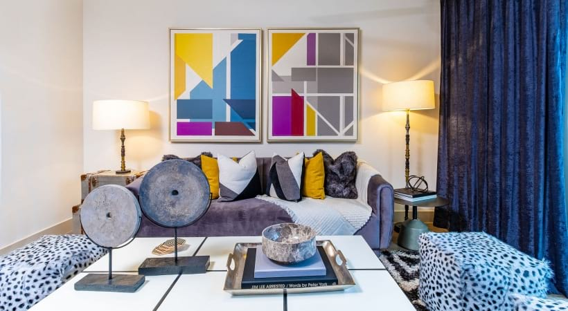 Spacious living room at Cortland at Phipps Plaza