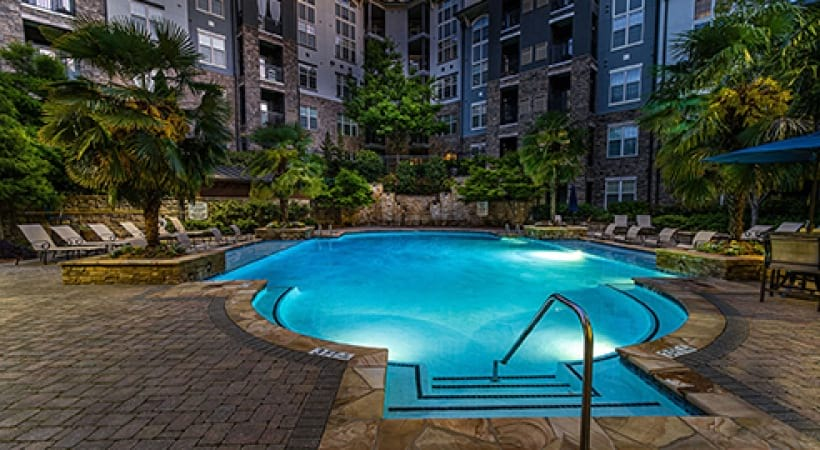 Resort Style pool at night | Oleander West