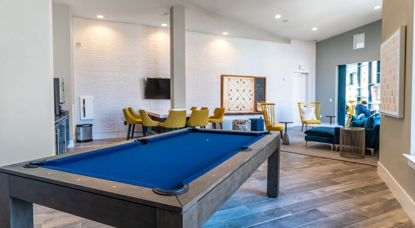 Billiards table at Cortland Peachtree Corners clubhouse
