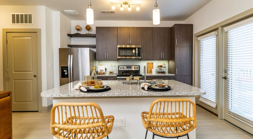 Kitchen breakfast bar at our Peachtree Corners apartments