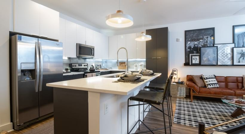 Modern apartment kitchen at our Vinings apartments