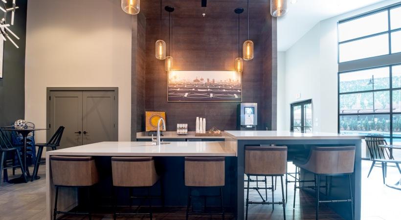 Complimentary coffee bar at Cortland at the Battery Atlanta