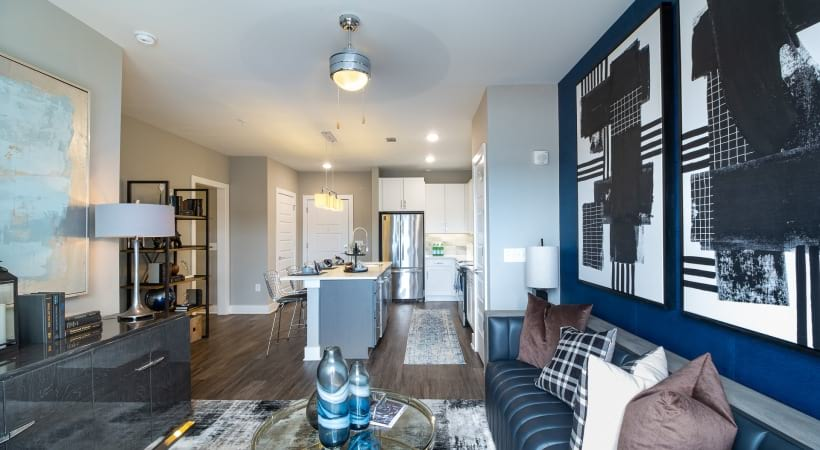 Spacious apartment living area at our Vinings apartments