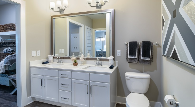 Apartment Bathroom with Double Sink Vanity
