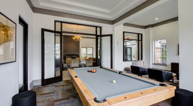 Pool table at our Cypress apartment clubhouse