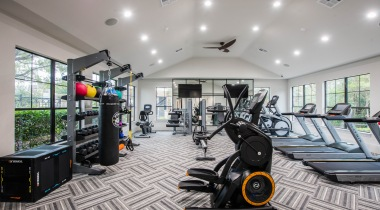 Fitness center at apartments in Houston, TX