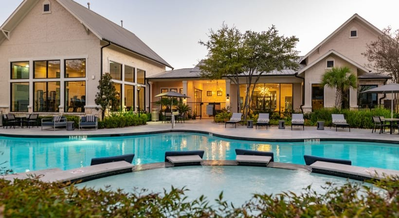 Resort-style pool at our apartments for rent in South Austin