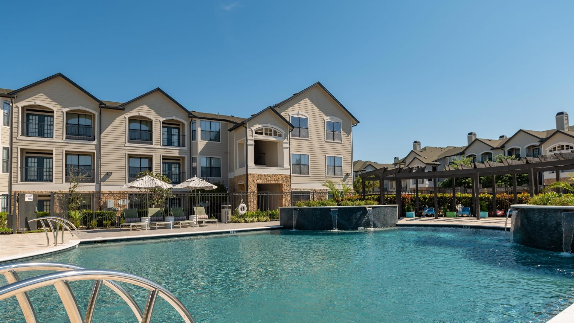 Resort style pool at apartments in Willowbrook