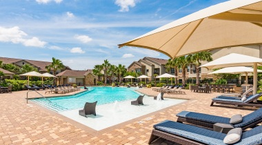 Resort style saltwater pool at Cortland Sugar Land