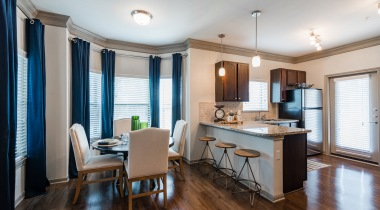 Kitchen and dining area at apartments for rent in Richmond, TX