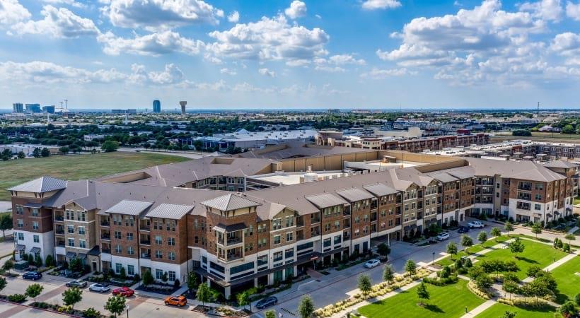 Aerial view of Verus apartments in Frisco, TX